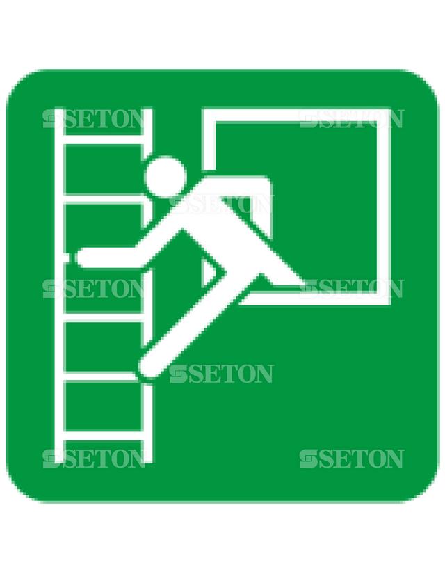 フロア・サインマークシール ISO 緊急脱出用窓はしご左 言語なし 140×140