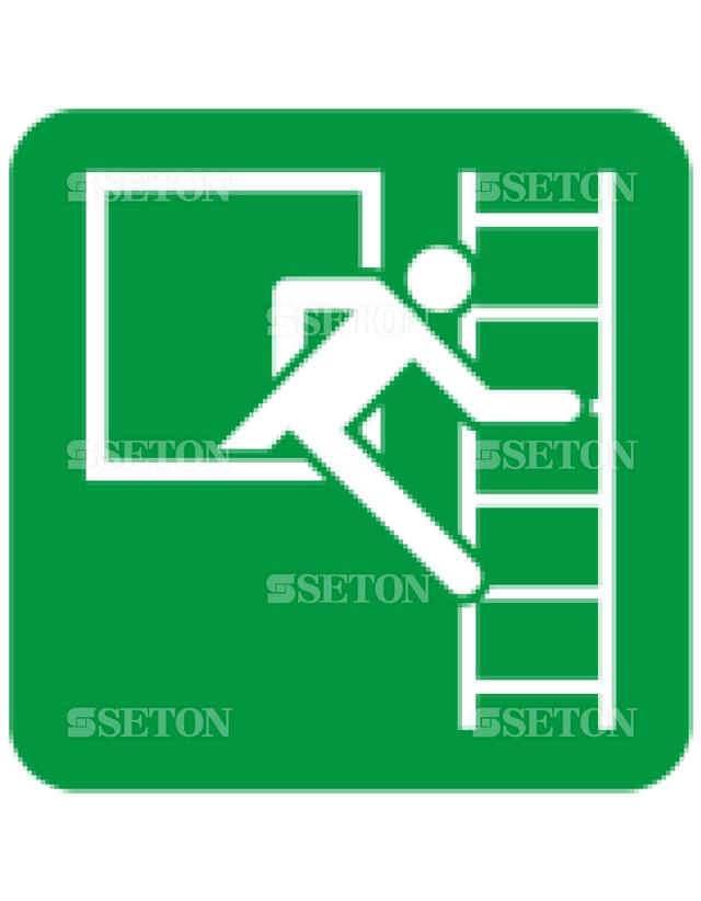 フロア・サインマークシール ISO 緊急脱出用窓はしご右 言語なし 140×140