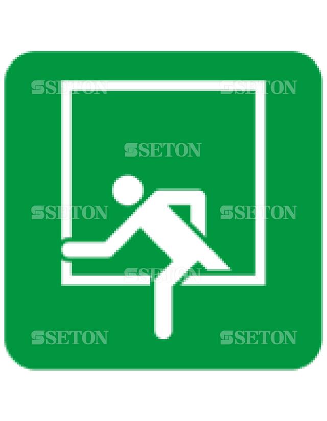 フロア・サインマークシール ISO 緊急脱出用窓 言語なし 140×140