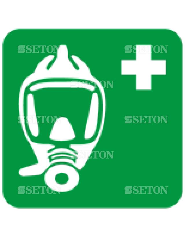 フロア・サインマークシール ISO 非常呼吸装置 言語なし 140×140