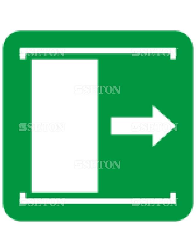 フロア・サインマークシール ISO 扉を右にすべらすと 言語なし 140×140