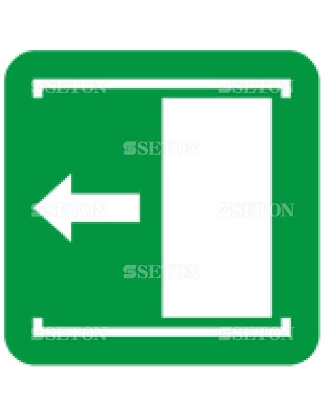 フロア・サインマークシール ISO 扉を左にすべらすと 言語なし 140×140