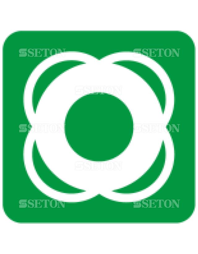 フロア・サインマークシール ISO 救命ブイ 言語なし 140×140