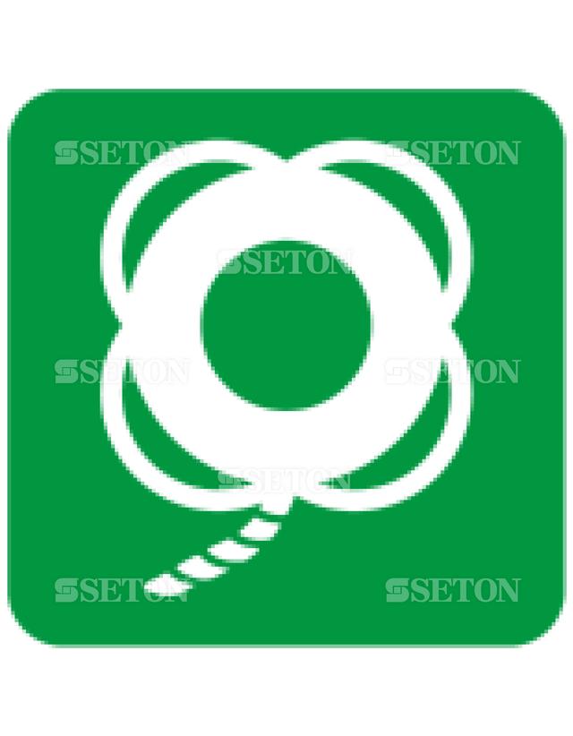 フロア・サインマークシール ISO ひも付き救命ブイ 言語なし 140×140