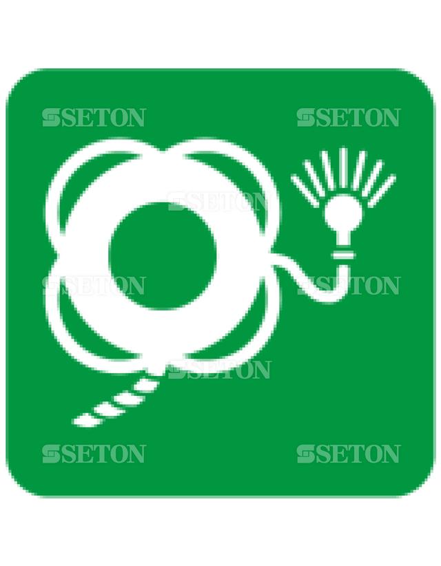 フロア・サインマークシール ISO ライトとひも付き救命 言語なし 140×140