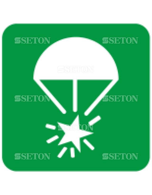フロア・サインマークシール ISO ロケット・パラシュー 言語なし 140×140