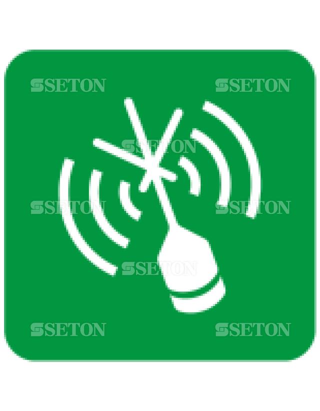 フロア・サインマークシール ISO ラジオビーコンを示す 言語なし 140×140
