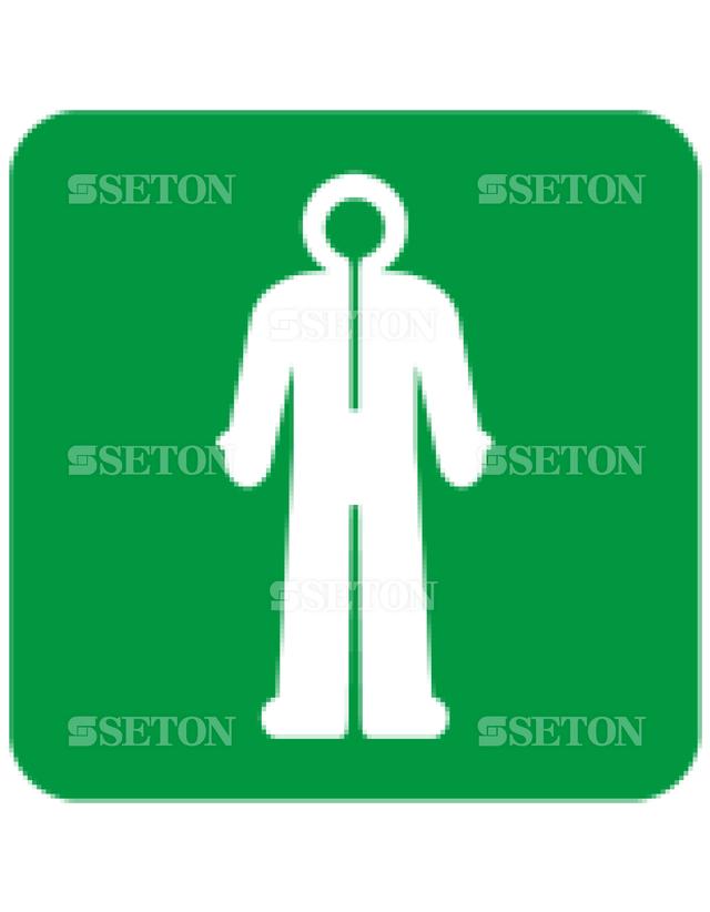 フロア・サインマークシール ISO サバイバル衣服 言語なし 140×140