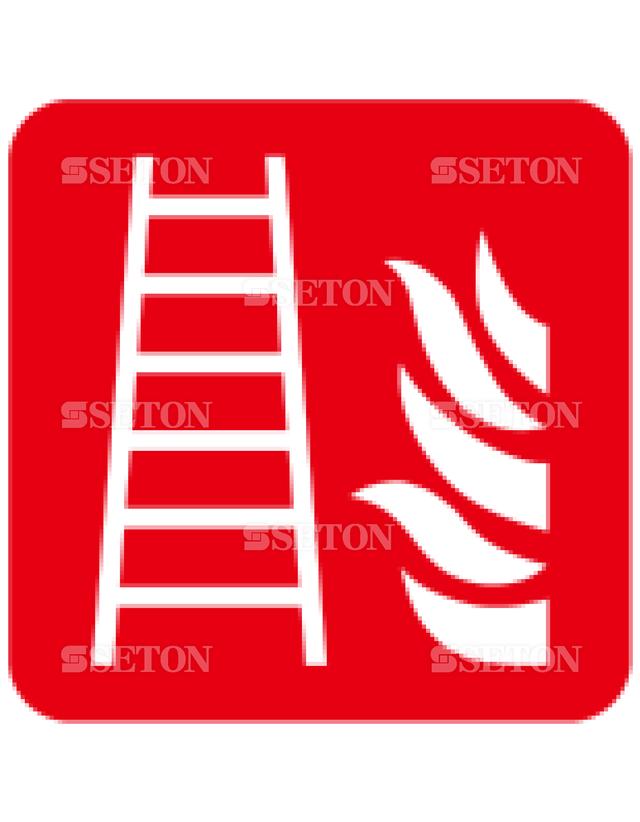 フロア・サインマークシール ISO 消火はしご 言語なし 140×140