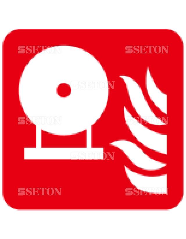フロア・サインマークシール ISO 固定型消火容器 言語なし 140×140