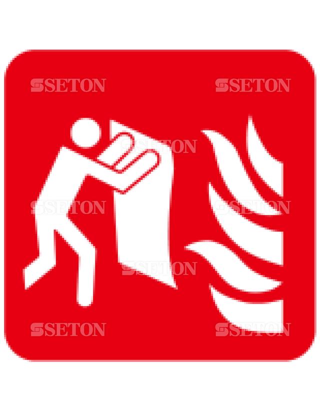 フロア・サインマークシール ISO 消火毛布 言語なし 140×140