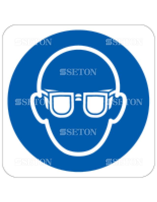 フロア・サインマークシール ISO 保護眼鏡着用 言語なし 140×140
