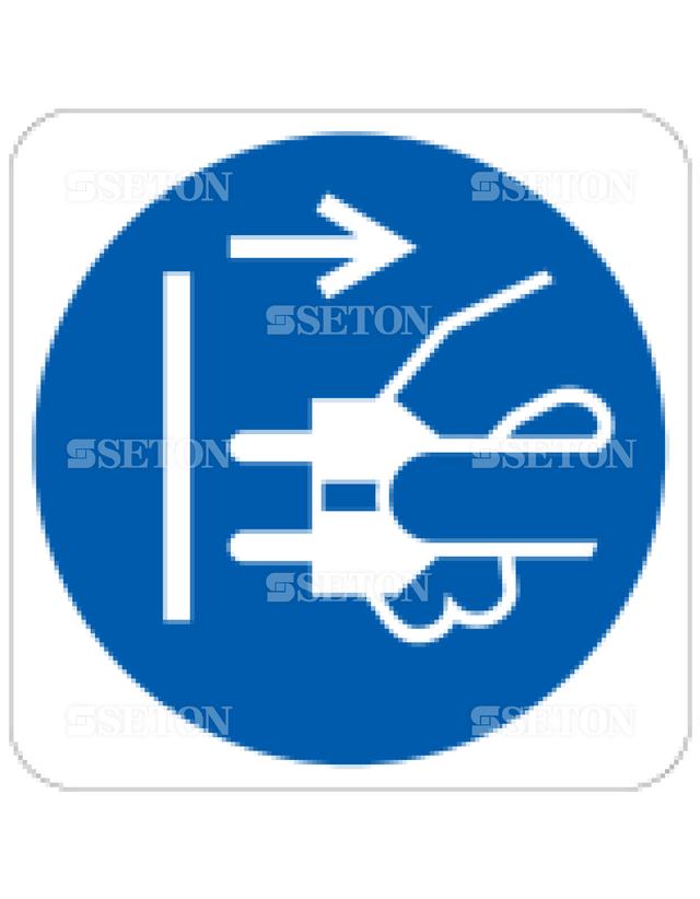 フロア・サインマークシール ISO プラグをぬく 言語なし 140×140