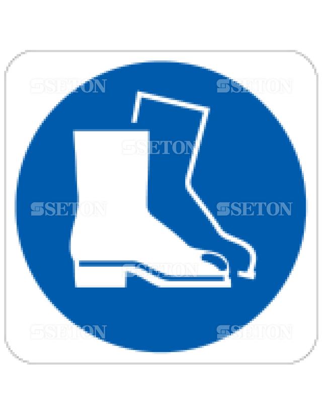 フロア・サインマークシール ISO 安全靴着用 言語なし 140×140