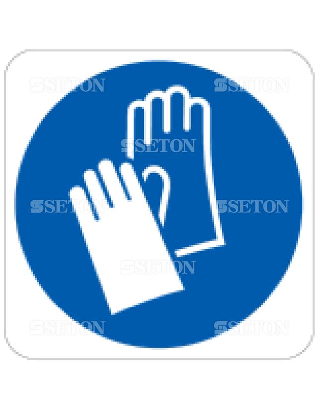 フロア・サインマークシール ISO 保護手袋着用 言語なし 140×140