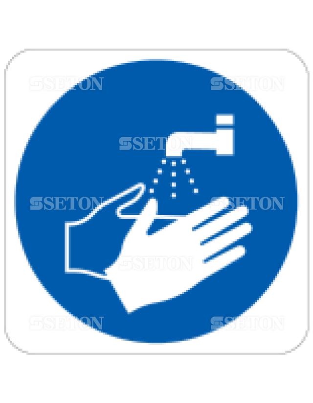 フロア・サインマークシール ISO 手を洗おう 言語なし 140×140