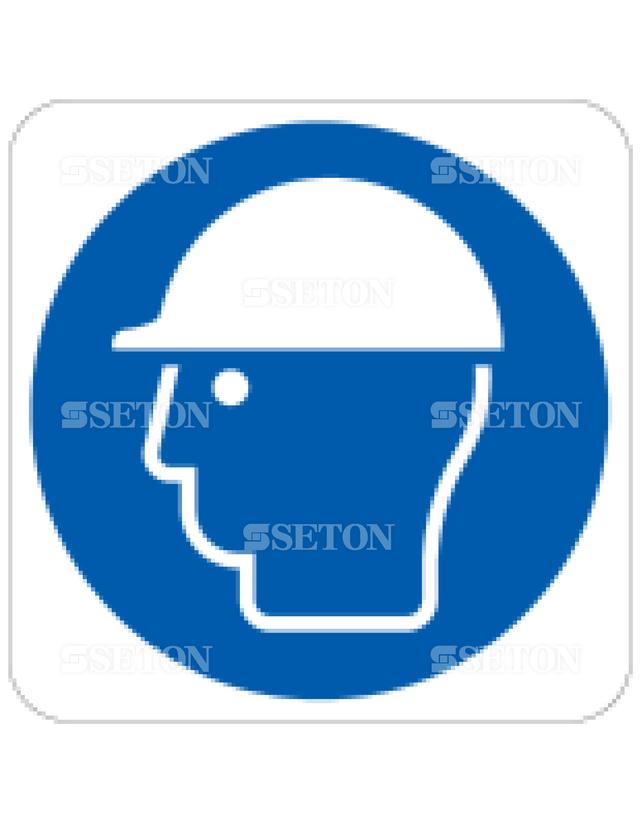 フロア・サインマークシール ISO ヘルメット着用 言語なし 140×140