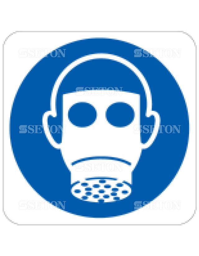 フロア・サインマークシール ISO 呼吸用保護具着用 言語なし 140×140