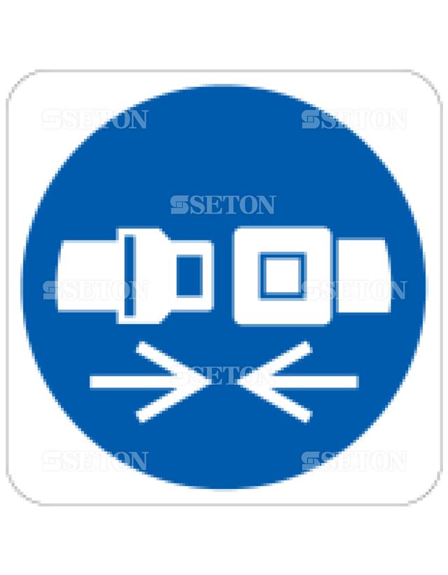 フロア・サインマークシール ISO 安全ベルト着用 言語なし 140×140