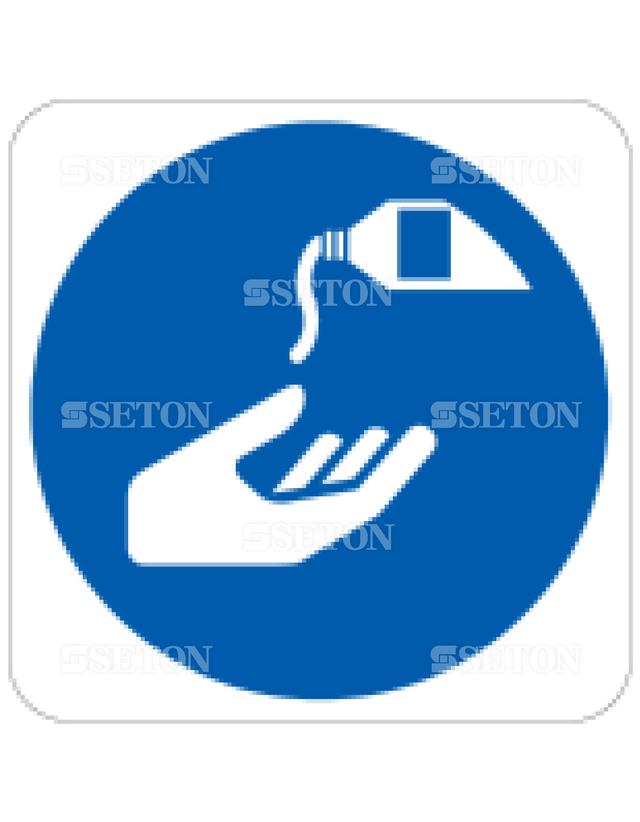 フロア・サインマークシール ISO 保護クリームを塗る 言語なし 140×140