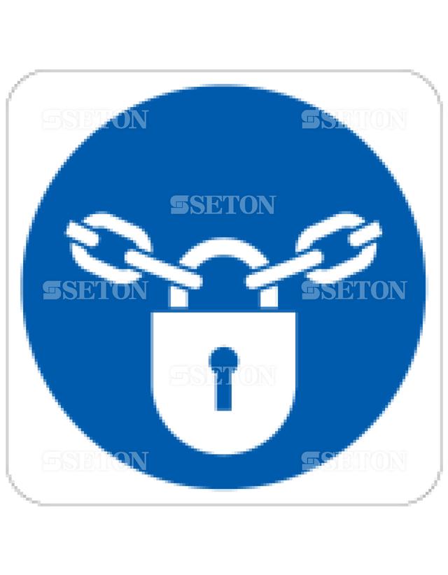 フロア・サインマークシール ISO 施錠を続ける 言語なし 140×140