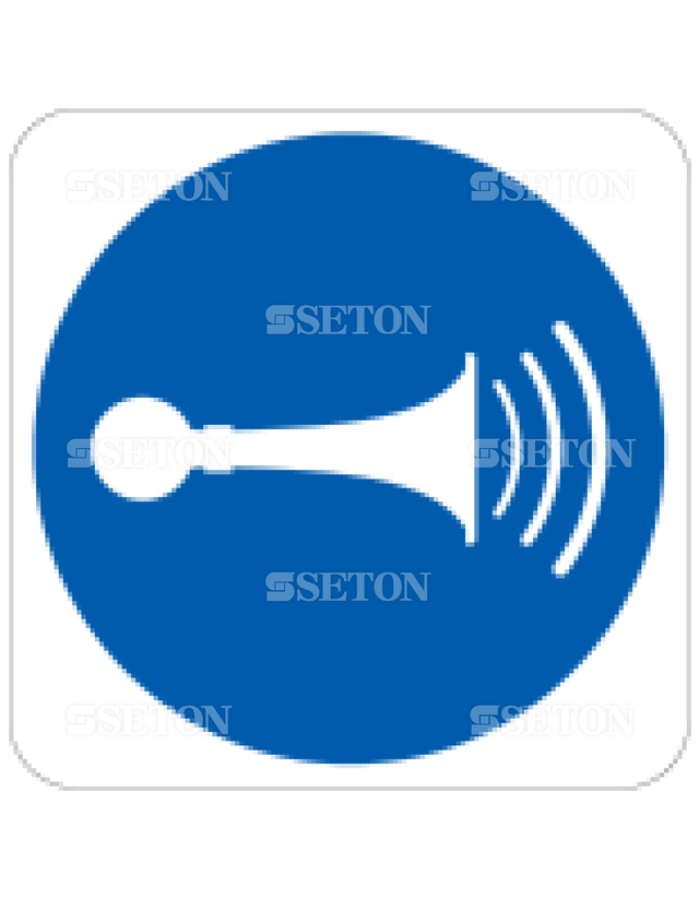 フロア・サインマークシール ISO 警笛を鳴らせ 言語なし 140×140