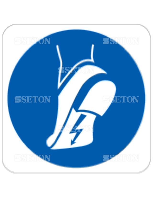 フロア・サインマークシール ISO 静電気安全靴着用 言語なし 140×140