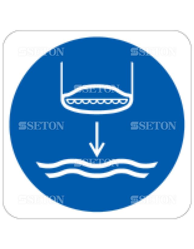 フロア・サインマークシール ISO 水下部救命艇 言語なし 140×140