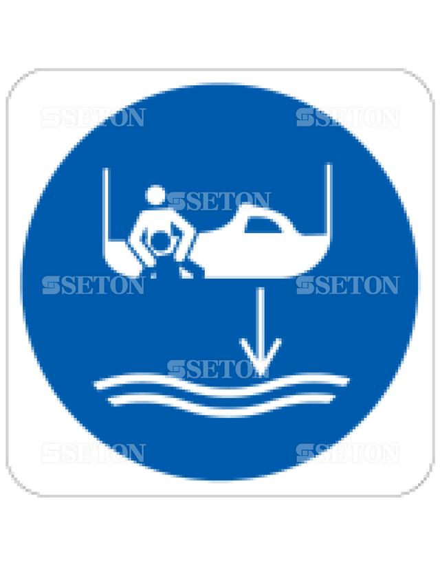 フロア・サインマークシール ISO 水下部救出ボート 言語なし 140×140