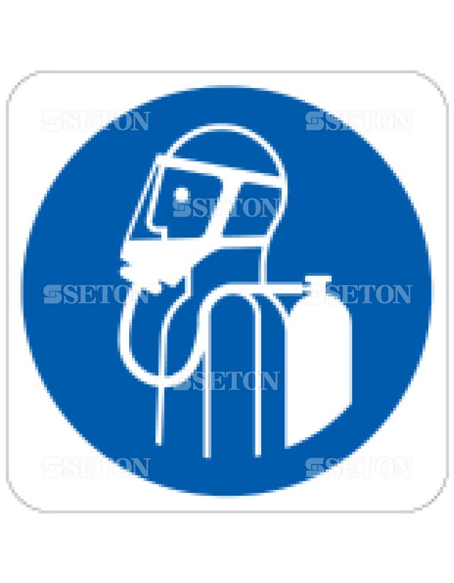 フロア・サインマークシール ISO 呼吸機器着用 言語なし 140×140