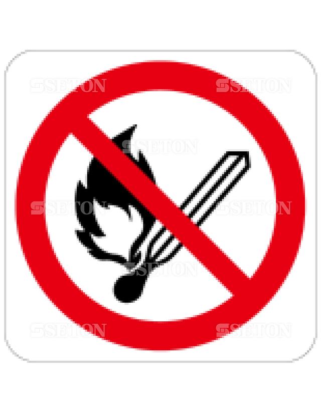 フロア・サインマークシール ISO 火気厳禁 言語なし 140×140