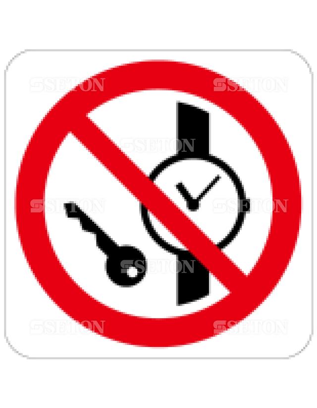 フロア・サインマークシール ISO 金属持込禁止 言語なし 140×140