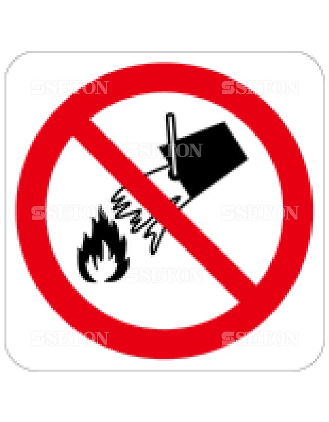フロア・サインマークシール ISO 消火に水をかけるな 言語なし 140×140