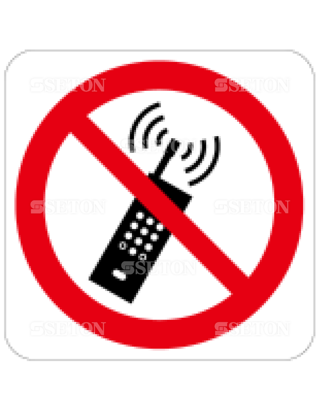 フロア・サインマークシール ISO 携帯電話使用禁止 言語なし 140×140