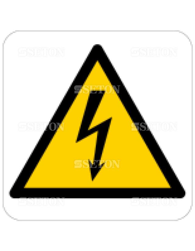 フロア・サインマークシール ISO 感電注意 言語なし 140×140