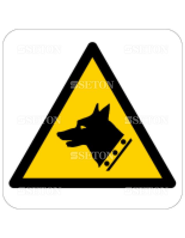 フロア・サインマークシール ISO 番犬に注意 言語なし 140×140