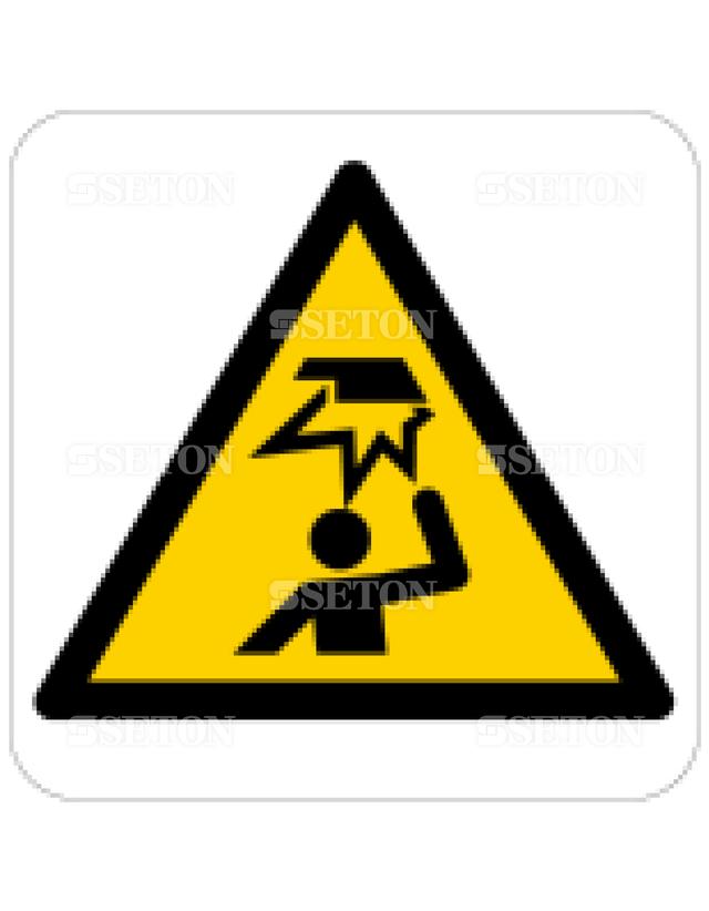 フロア・サインマークシール ISO 天井に注意 言語なし 140×140