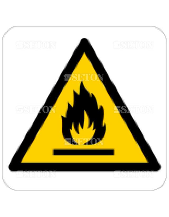 フロア・サインマークシール ISO 火気注意 言語なし 140×140