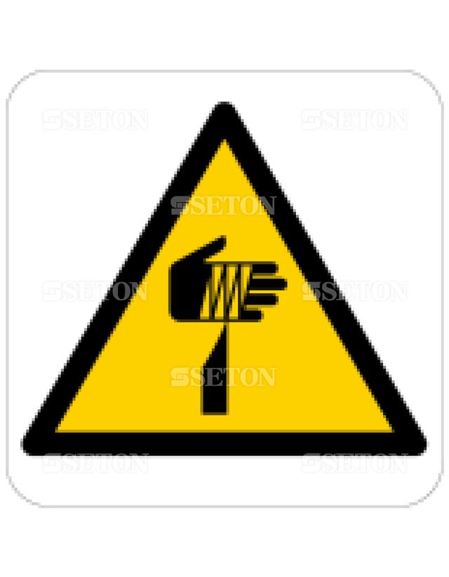 フロア・サインマークシール ISO 鋭利物に注意 言語なし 140×140