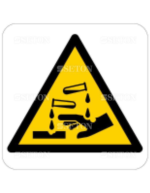 フロア・サインマークシール ISO 腐食性物質に注意 言語なし 140×140