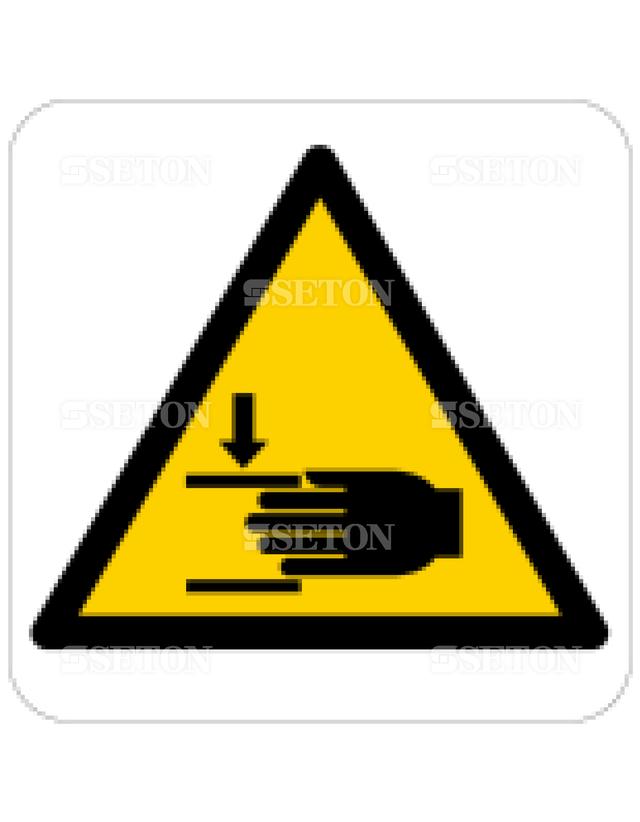 フロア・サインマークシール ISO 手の圧搾に注意 言語なし 140×140