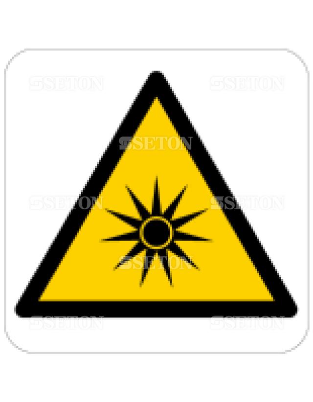 フロア・サインマークシール ISO 放射光に注意 言語なし 140×140