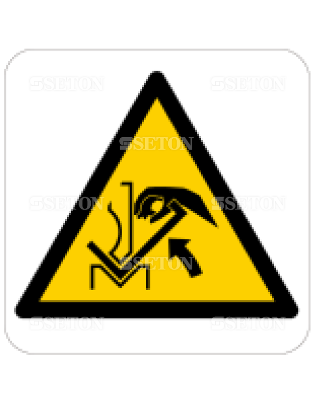フロア・サインマークシール ISO プレスと製品に注意 言語なし 140×140
