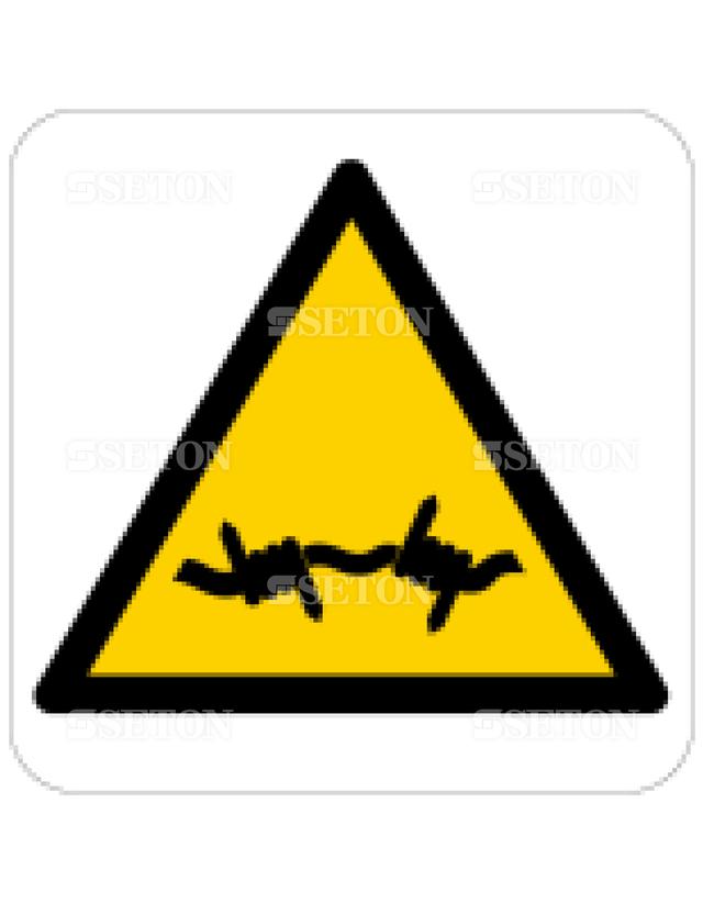 フロア・サインマークシール ISO 有刺鉄線に注意 言語なし 140×140