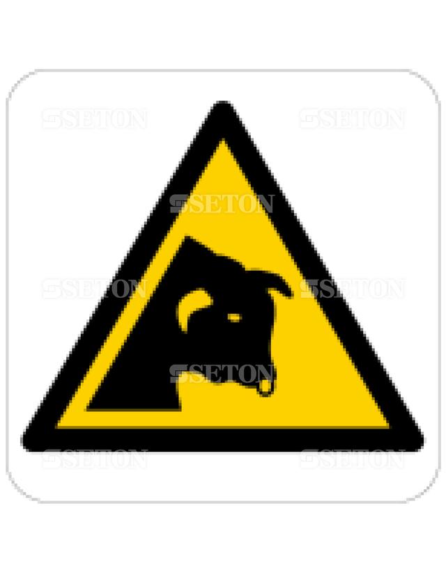 フロア・サインマークシール ISO 牛に注意 言語なし 140×140
