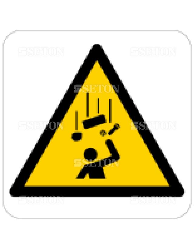 フロア・サインマークシール ISO 落下物に注意 言語なし 140×140