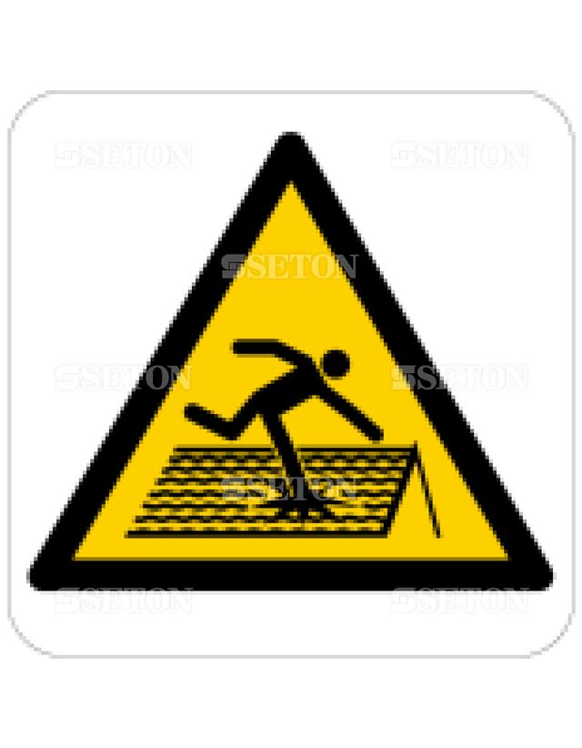 フロア・サインマークシール ISO もろい屋根に注意 言語なし 140×140