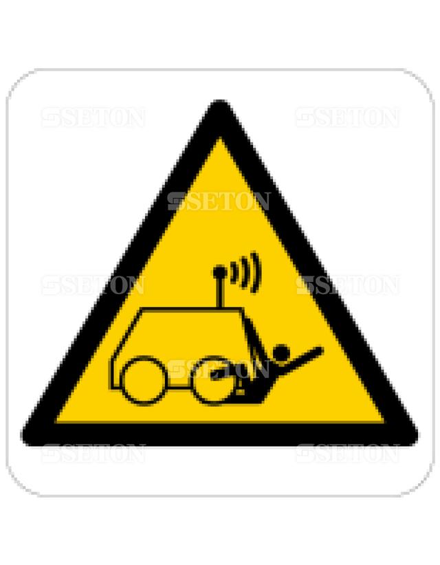 フロア・サインマークシール ISO 無線運転車に注意 言語なし 140×140