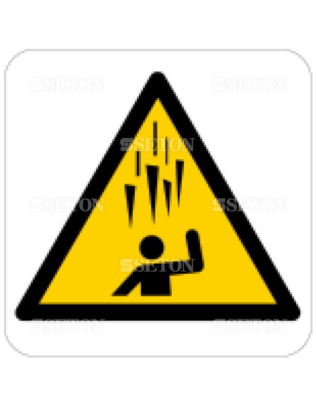 フロア・サインマークシール ISO 氷の落下に注意 言語なし 140×140