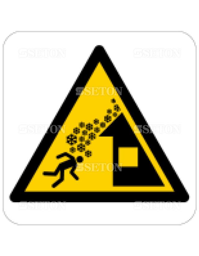フロア・サインマークシール ISO 屋根からの雪崩に注意 言語なし 140×140